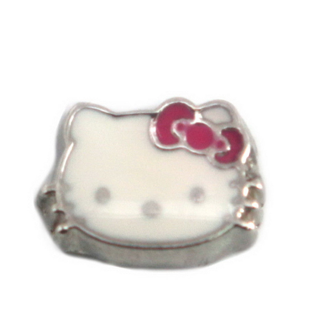 Floating charms Kitty Kitten Headand 5 Birthstones locket Charm Bracelets necklace - Pendants and Charms