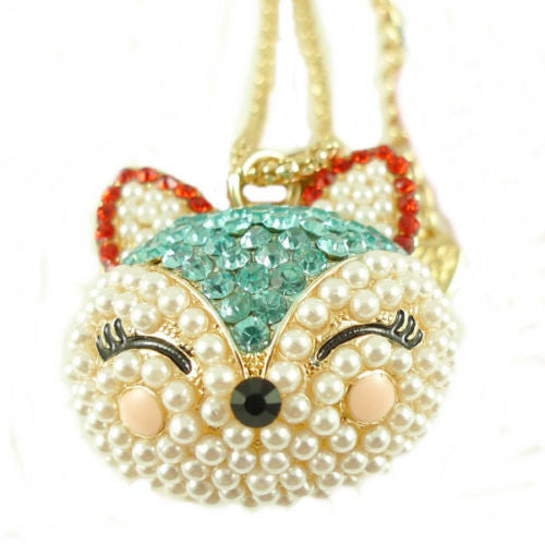 Blue Cat Crystal Pendants Necklace Gift Q107 - Pendants and Charms