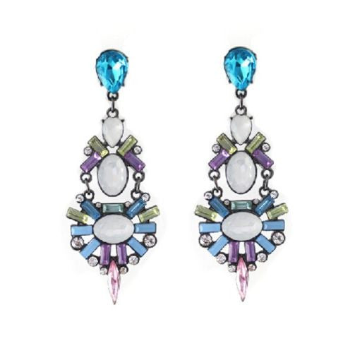 Blue fashion Charming Charm Resin Crystal Flower Drop Dangle stud Earrings - Pendants and Charms