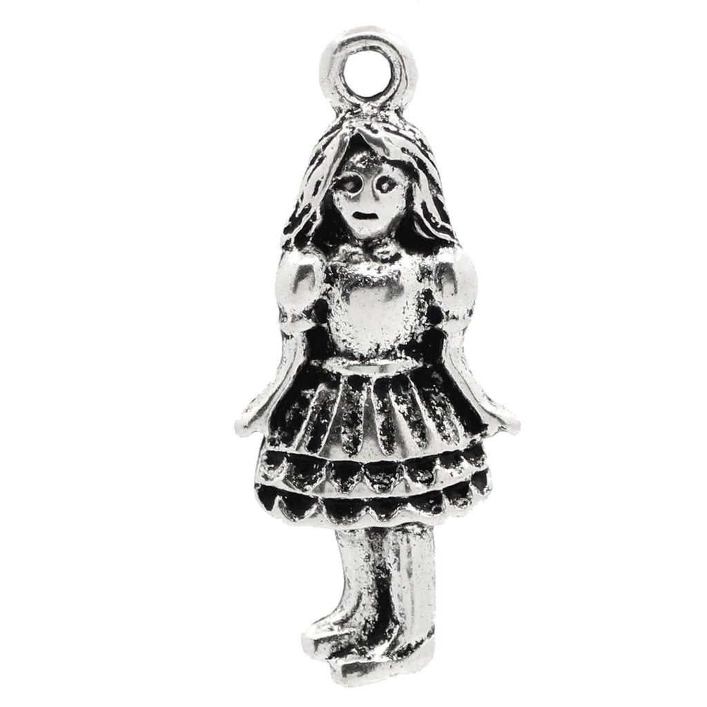 "Charm Pendants Beautiful Girl Silver Tone Gift 26mmx11mm(1""x3/8"") - Pendants and Charms"