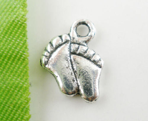 Charm Pendants Feet Silver Tone 12x9mm - Pendants and Charms