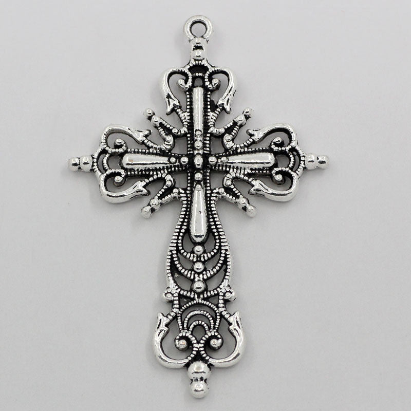 "Charm Pendants Hollow Pattern Carved Cross Silver Tone 2 4/8""x1 5/8"" - Pendants and Charms"