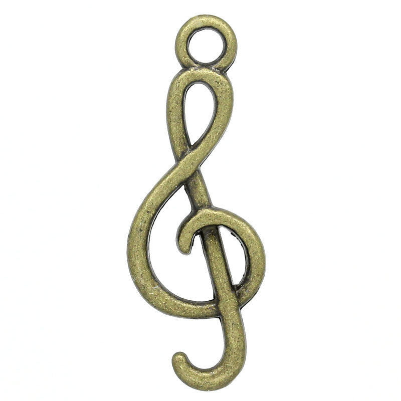 Charm Pendants Musical Note Bronze Tone - Pendants and Charms