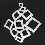 Charm Pendants Rhombus Silver Plated 3cmx2.5cm - Pendants and Charms