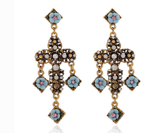 Charm Retro Alloy Cross Faux Pearl  Resin Rose Flower Dangle Long Earrings Shourouk Earrings - Pendants and Charms