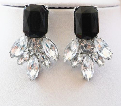 White Black Monochrome Resin Crystal Drop  Long Earrings Shourouk Earrings - Pendants and Charms