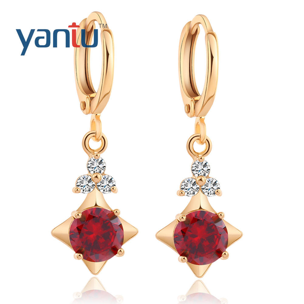 Chic 18K Gold Plated Charming Gemstone Dangle Hoop Earrings hot - Pendants and Charms