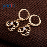 Chic 18K Gold Plated Clear Crystal Hollow Flower Hoop Earrings hot - Pendants and Charms