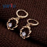 Chic 18K Gold Plated Crystal Ring Dangle Hoop Earrings hot - Pendants and Charms