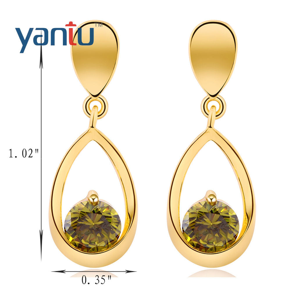 Gold Plated Green Zirconia Drop Dangle  Earrings - Pendants and Charms