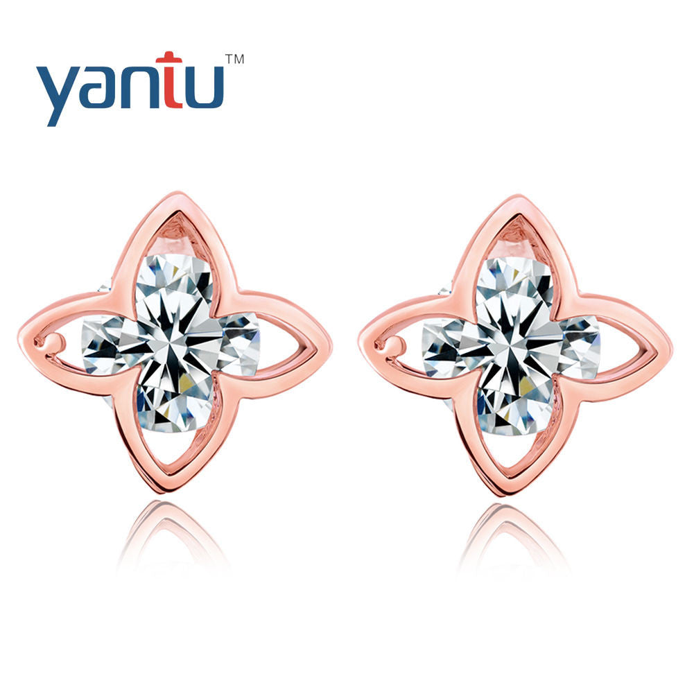 Gold Plated White Zircon Clover Star Stud Earrings - Pendants and Charms