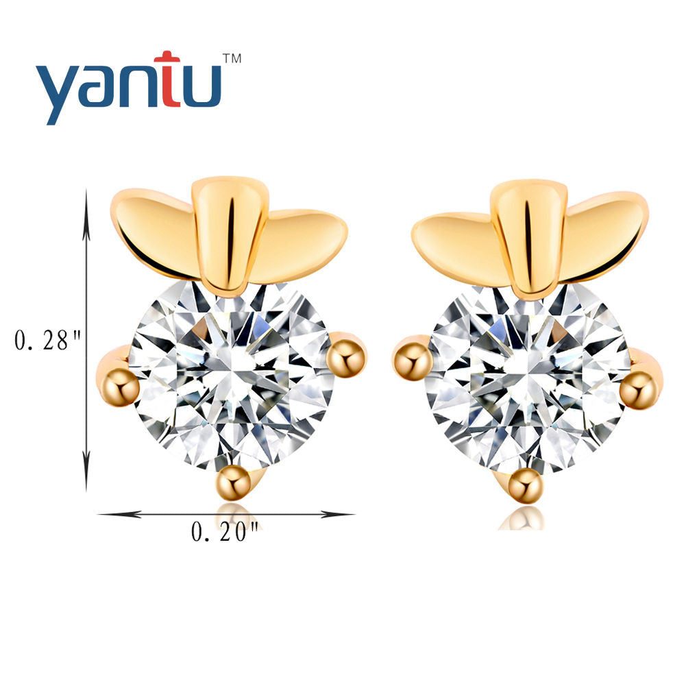 Chic 18K Gold Plated Zirconia Stud Earrings hot - Pendants and Charms