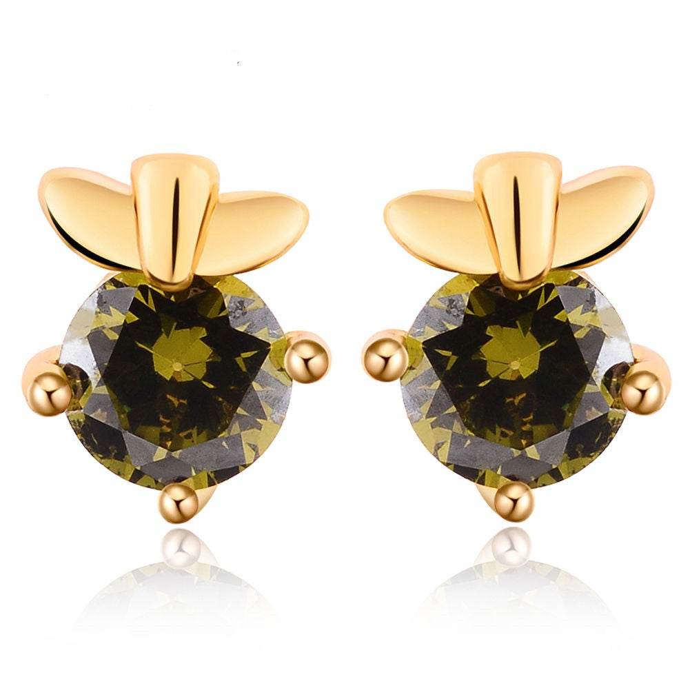 Chic 18K Gold Plated Green Zirconia Stud Earrings hot - Pendants and Charms