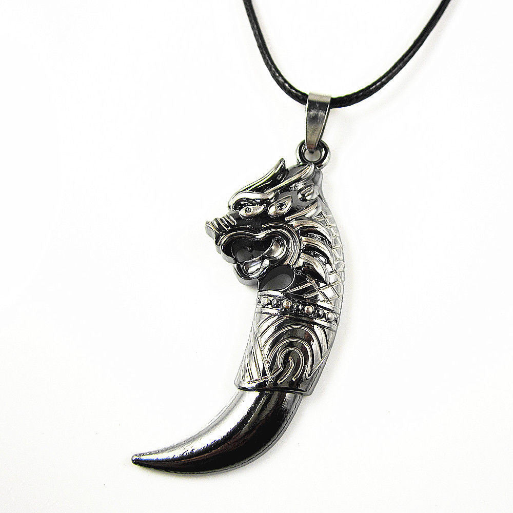 Men's Stainless Steel Black Wolf Fang Teeth Pendant Necklace Men Jewellery - Pendants and Charms