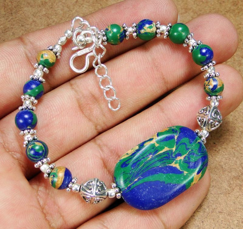 Natural Gemstones Copper In Azurite 925 Sterling Silver Overlay Bracelet 215mm HK40-21112 - Pendants and Charms
