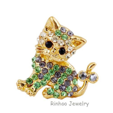 Cute Gold Green Kitten  Cats Embedded Rhinestone Crystal Brooch Pin - Pendants and Charms