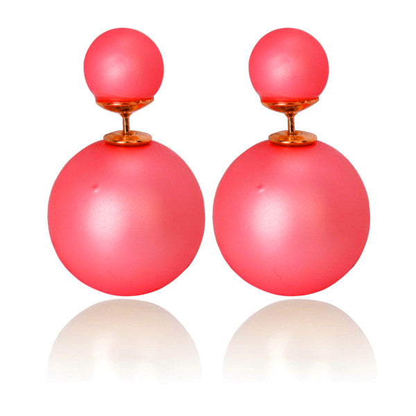 Celebrity Runway Double Pearl Beads Double Side Pearl Beads Stud Earrings - Pendants and Charms