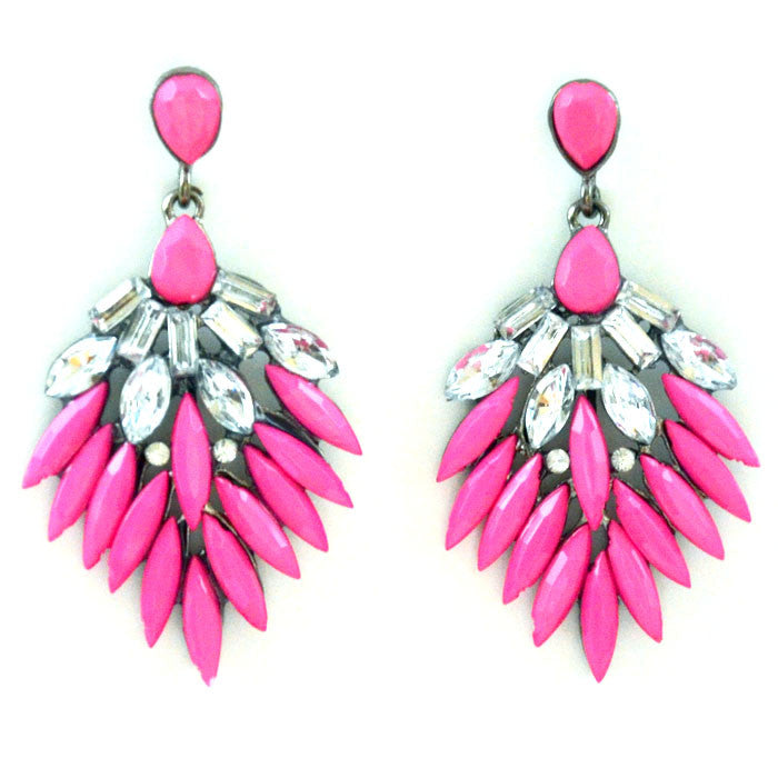 Pink Blue Yellow Leaf Long Earrings Shourouk Earrings - Pendants and Charms