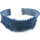 Blue Denim choker necklace plain or with charms pendant Classic Choker Necklace 15mm - Pendants and Charms