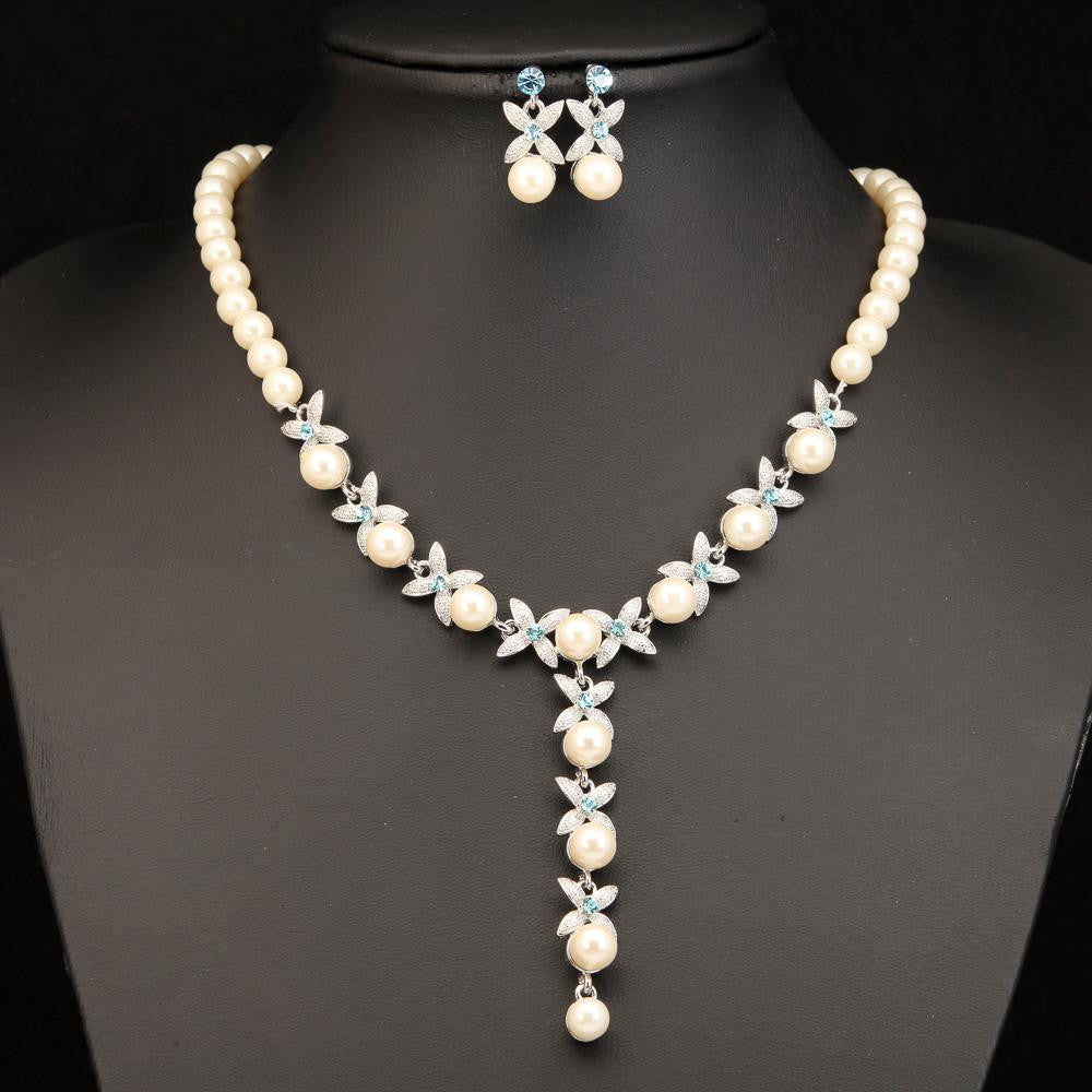 ELEGANT BLUE CRYSTAL WHITE PEARL SILVER NECKLACE SET 440404 - Pendants and Charms