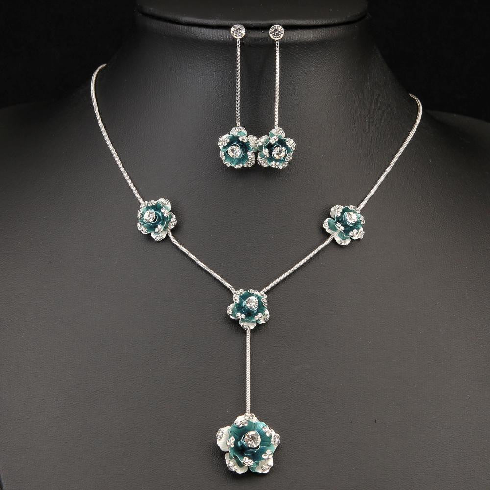 ENCHANTING CLEAR CRYSTAL BLUE FLOWER NECKLACE SET 450306 - Pendants and Charms