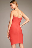 Orange Strapless Bodycon Bandage Dress - Pendants and Charms