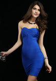 Blue Strapless Bodycon Bandage Dress - Pendants and Charms