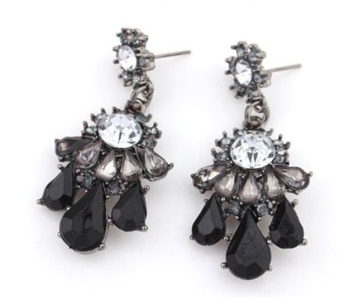 Black Resin Gems White Rhinestone Dangle Long Earrings Shourouk Earrings - Pendants and Charms