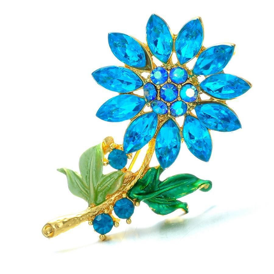 Blue Flower Womens Wedding Brooch Pin Rhinestone Crystal - Pendants and Charms