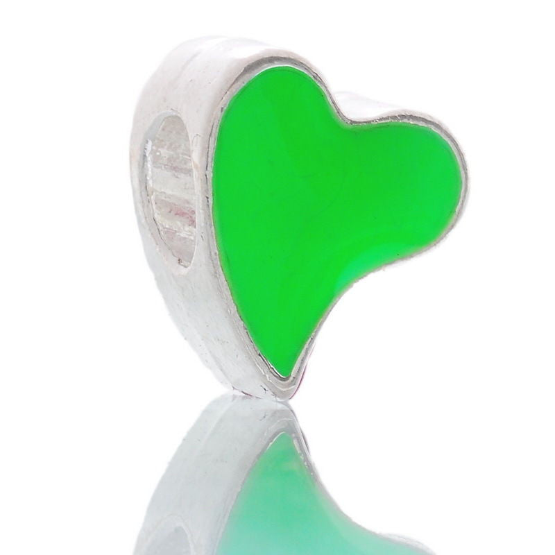 European Charm Beads Love Heart Enamel Green Silver Plated 12x11mm - Pendants and Charms