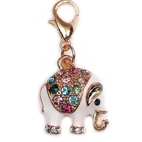 Elephant colourful rhinestones clip on Bead for Charm Bracelets Charms necklace - Pendants and Charms