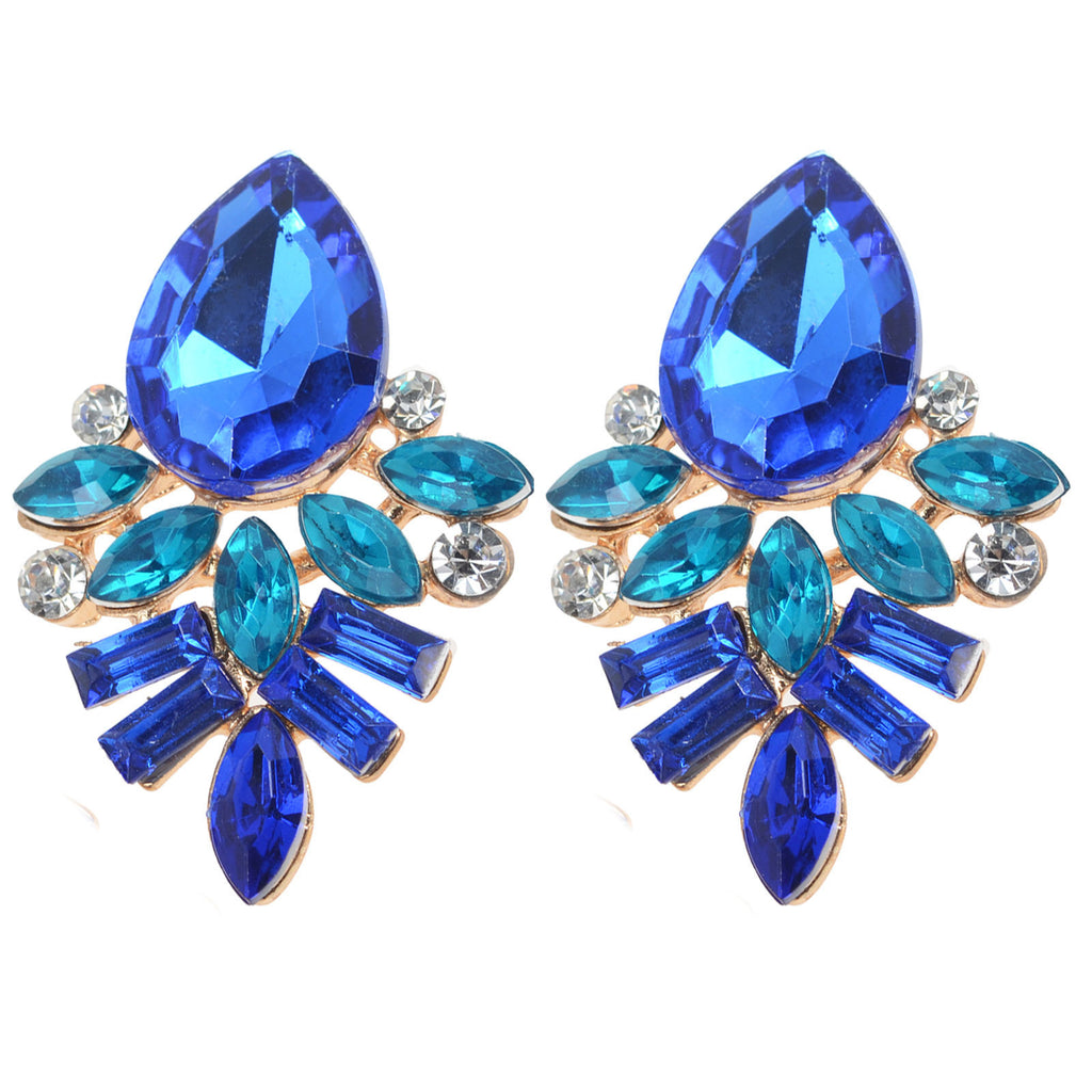 Blue Crystal Flower Drop Long Earrings Shourouk Earrings - Pendants and Charms