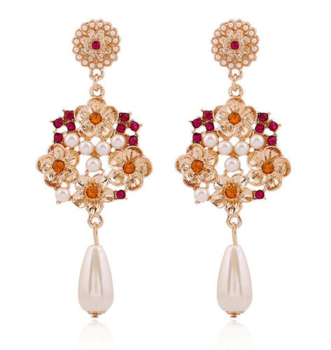 Luxury Charm Alloy Flower Pearls Stud Drop Long Earrings Flower Earrings - Pendants and Charms