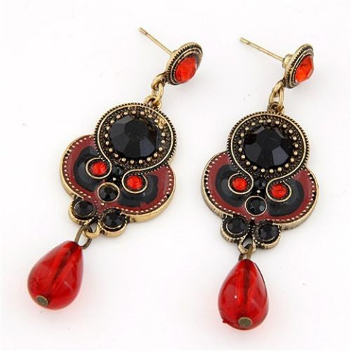 Red Resin Bronze Oriental Drop Earring Long Earrings Shourouk Earrings - Pendants and Charms