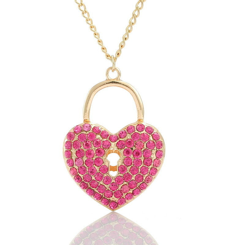 Fashion Gold Plated Heart Lock Pink Rhinestone Link Chain Pendant Necklace - Pendants and Charms