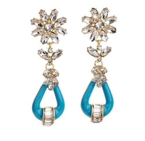 White Rhinestone Blue Enamel  Flower Drop Dangle Long Earrings Shourouk Earrings - Pendants and Charms