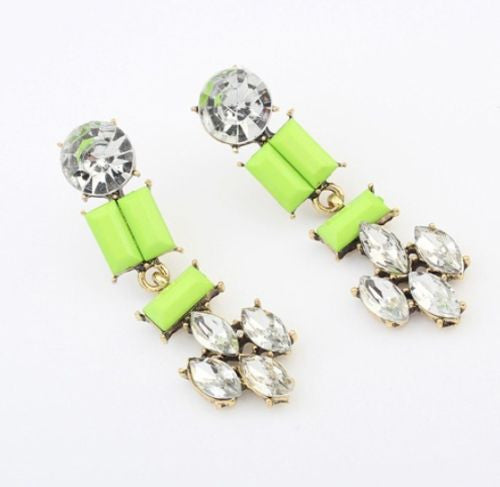 Green White Resin Crystal Drop Earring Long Earrings Shourouk Earrings - Pendants and Charms