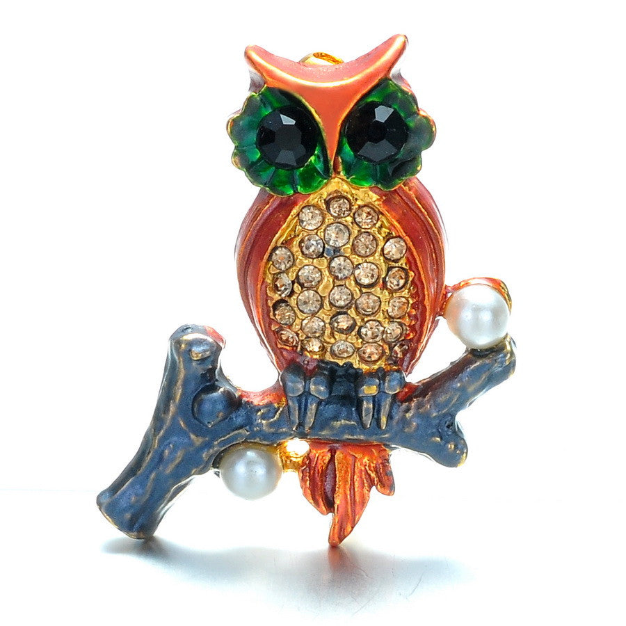 Fashion Owl on Branch with Pearl Alloy Brooch Pin Gift - Pendants and Charms