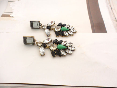 White Black Green Long Earrings Shourouk Earrings - Pendants and Charms