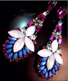 Pink White Blue Retro Crystal Rhinestone Teardrop Resin Flower Dangle Long Earrings Shourouk Earrings - Pendants and Charms