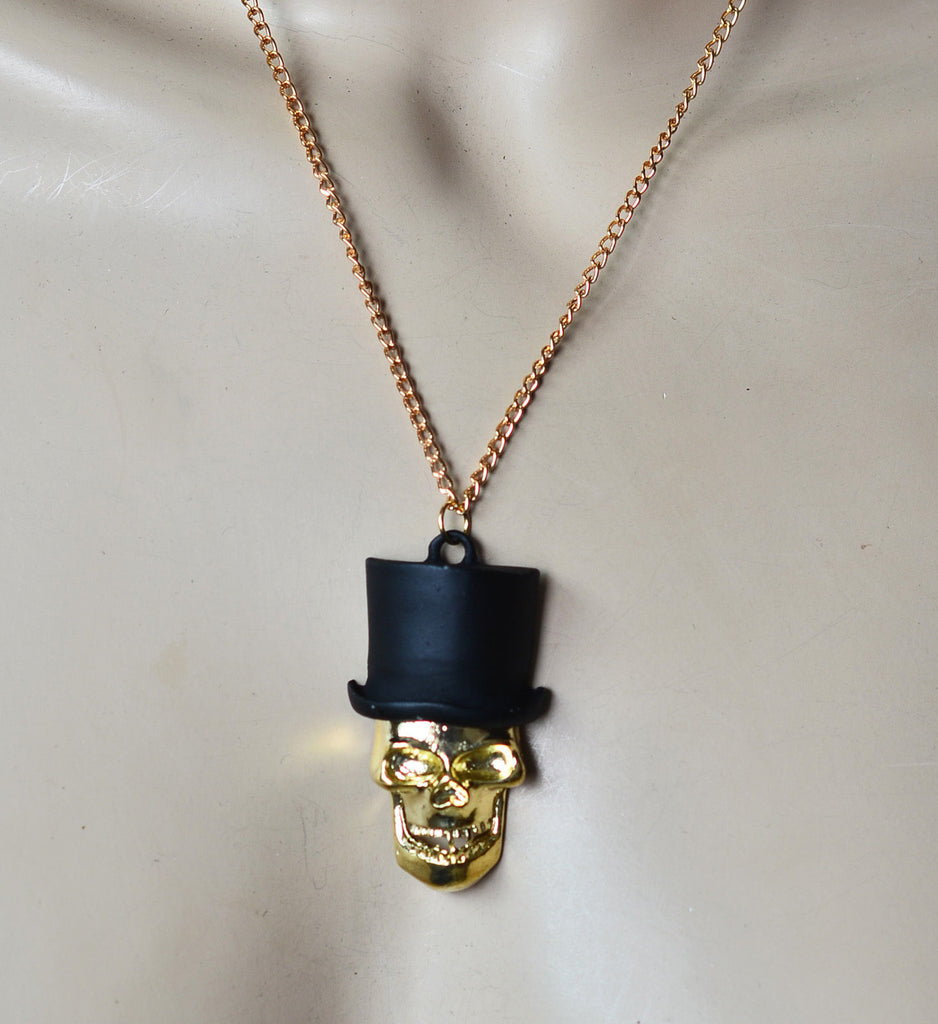 Fashion Retro Sweater Chain Small Unique Scary Halloween Skull In hat Necklace pendant - Pendants and Charms