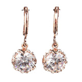 Deluxe Women 14k Gold Filled White Sapphire Dangle Earrings - Pendants and Charms