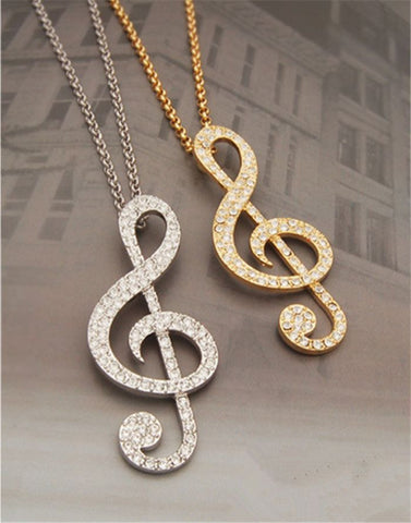 Fashion women jewelry gold crystal music note violin key long chain fashion women jewelry gold crystal music note violin key long chain necklace pendant pendants and mozeypictures Image collections