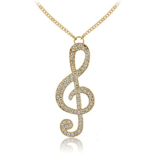 Fashion Women Jewelry Gold Crystal Music Note violin key Long Chain Necklace Pendant - Pendants and Charms