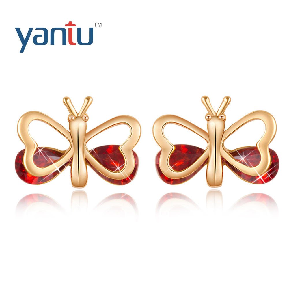 Fashion women 18K Gold Filled Red Zircon Butterfly Stud Earrings - Pendants and Charms