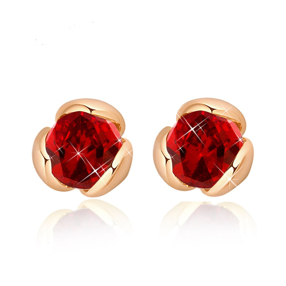 Fashion women 18K Gold Filled Red Zircon Flower Bud Stud Earrings - Pendants and Charms