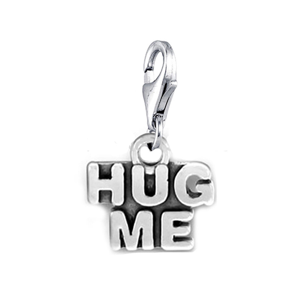 Hug Me lobster clip on Message Charms silver tone meaning word charm pendants - Pendants and Charms