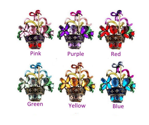 Purple flower Enamel Rhinestone Crystal Brooch Pin - Pendants and Charms