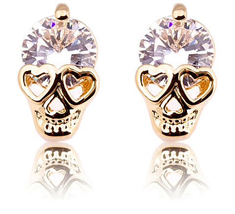 Stud earrings White rhinestone gold tone  skull stud earrings - Pendants and Charms