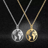World Earth Map Stainless Steel Pendant Necklace